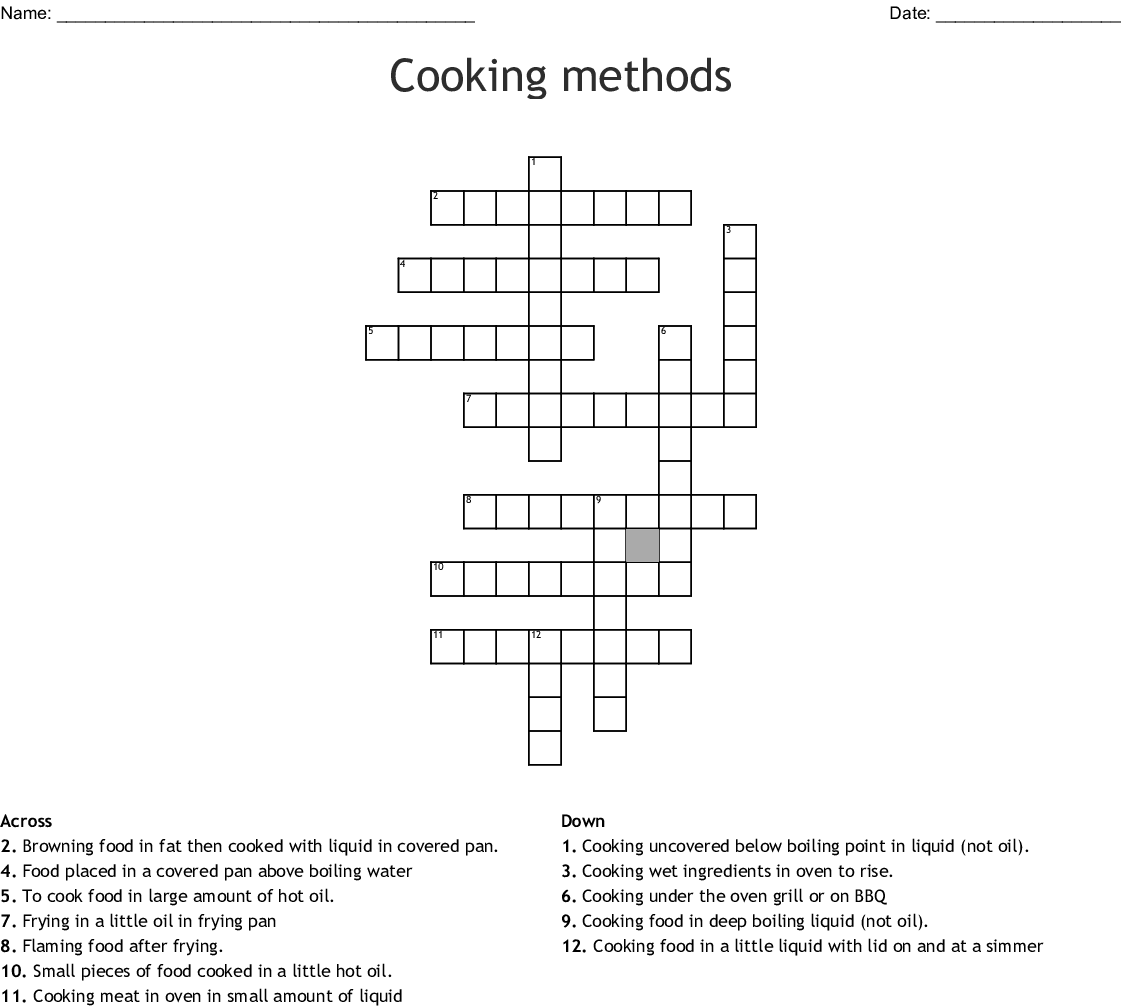 Cooking Terms Crossword Puzzle