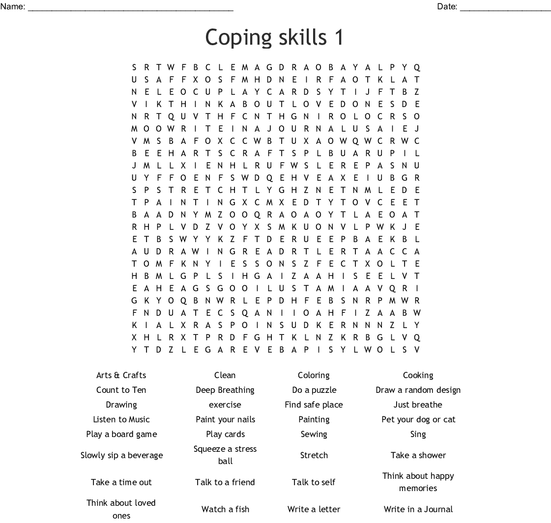 Positive Coping Skills Word Search