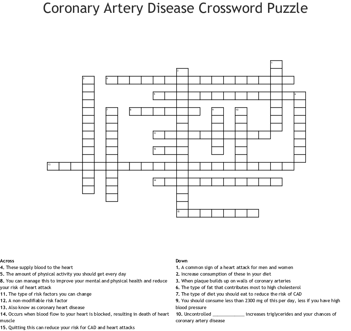 Coronary Heart Disease Crossword