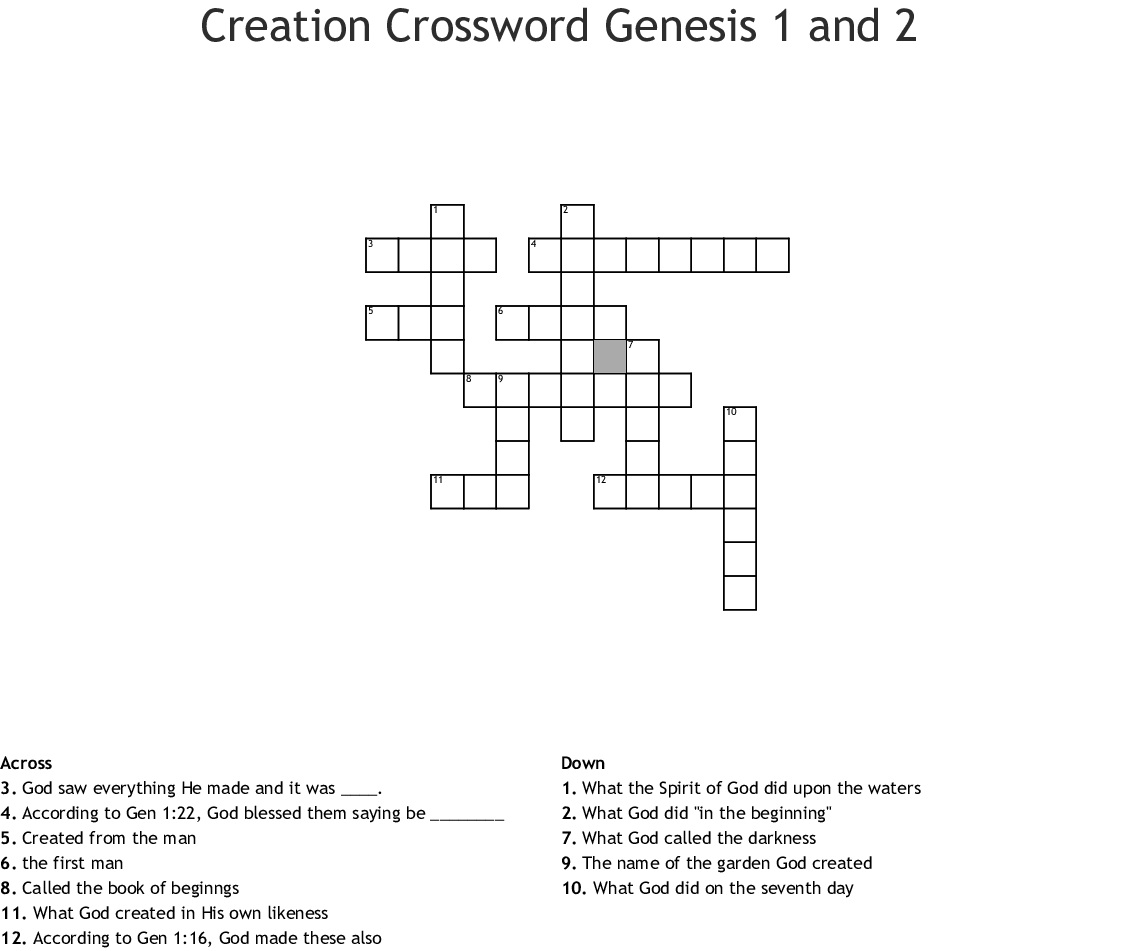 Adam And Eve Word Search