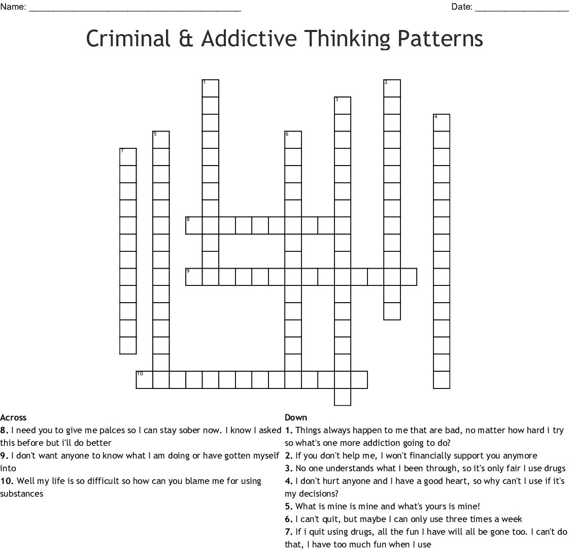 Criminal And Addictive Thinking Word Search