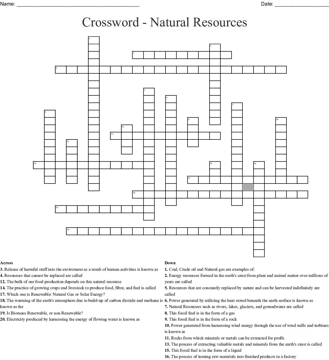 Energy Crossword Puzzle Worksheet