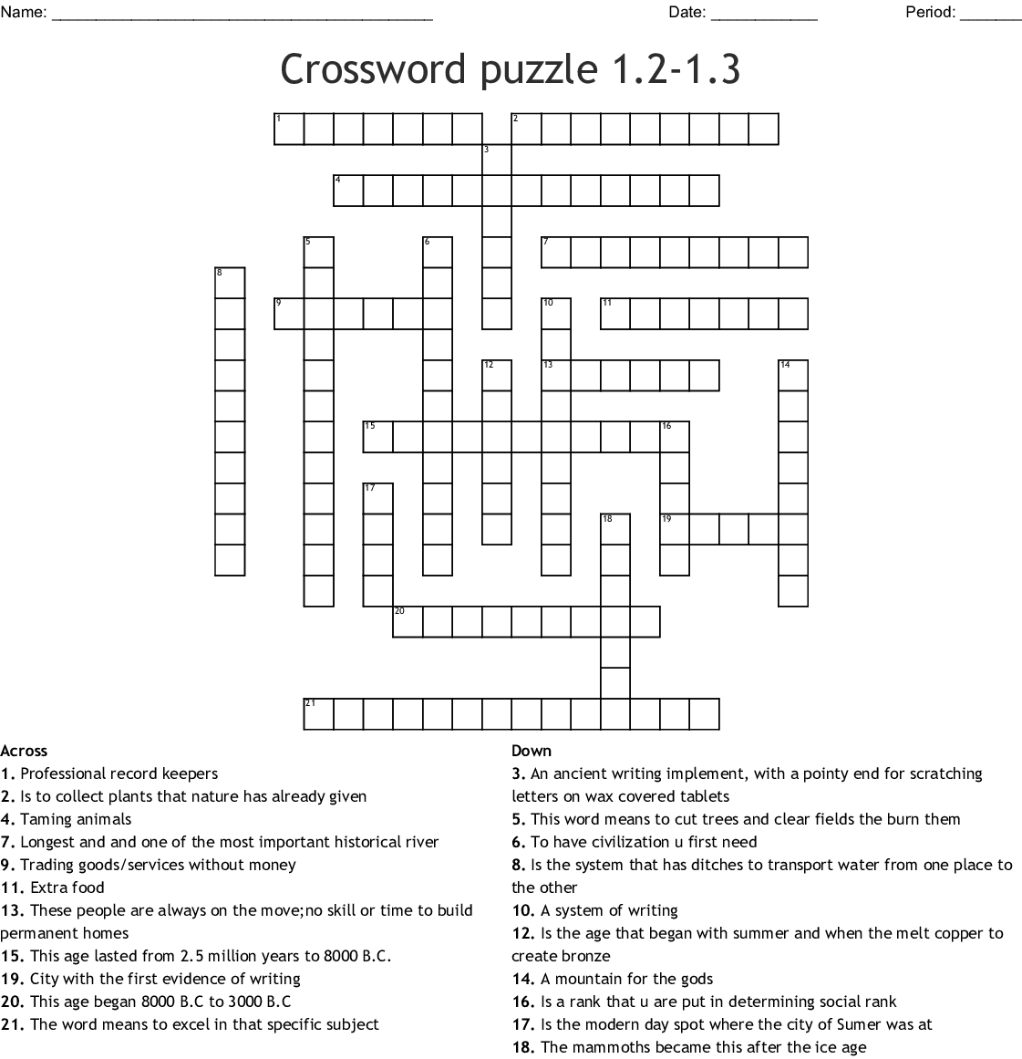 Similar To World History Crossword Puzzle