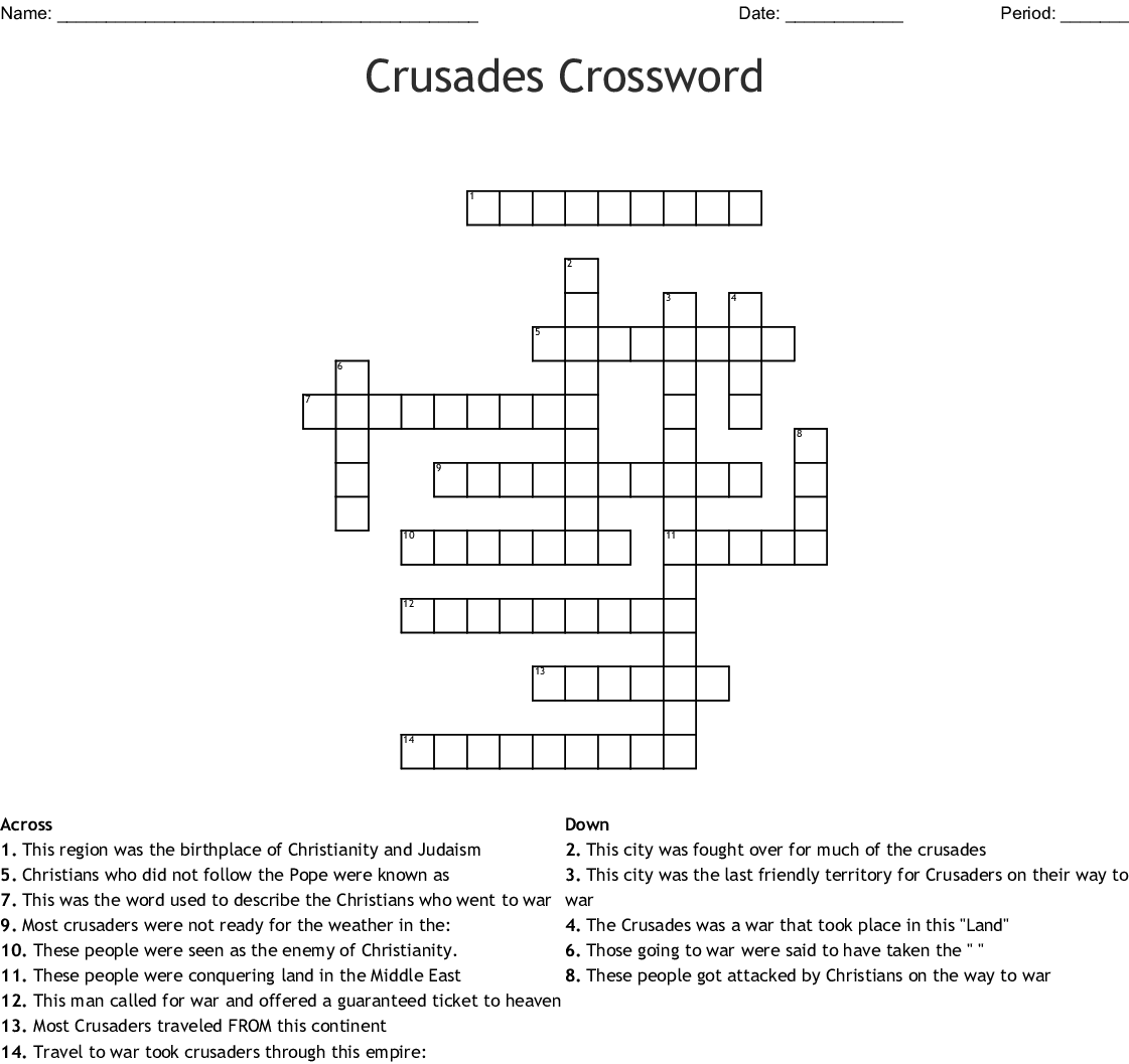 The Crusades Word Search