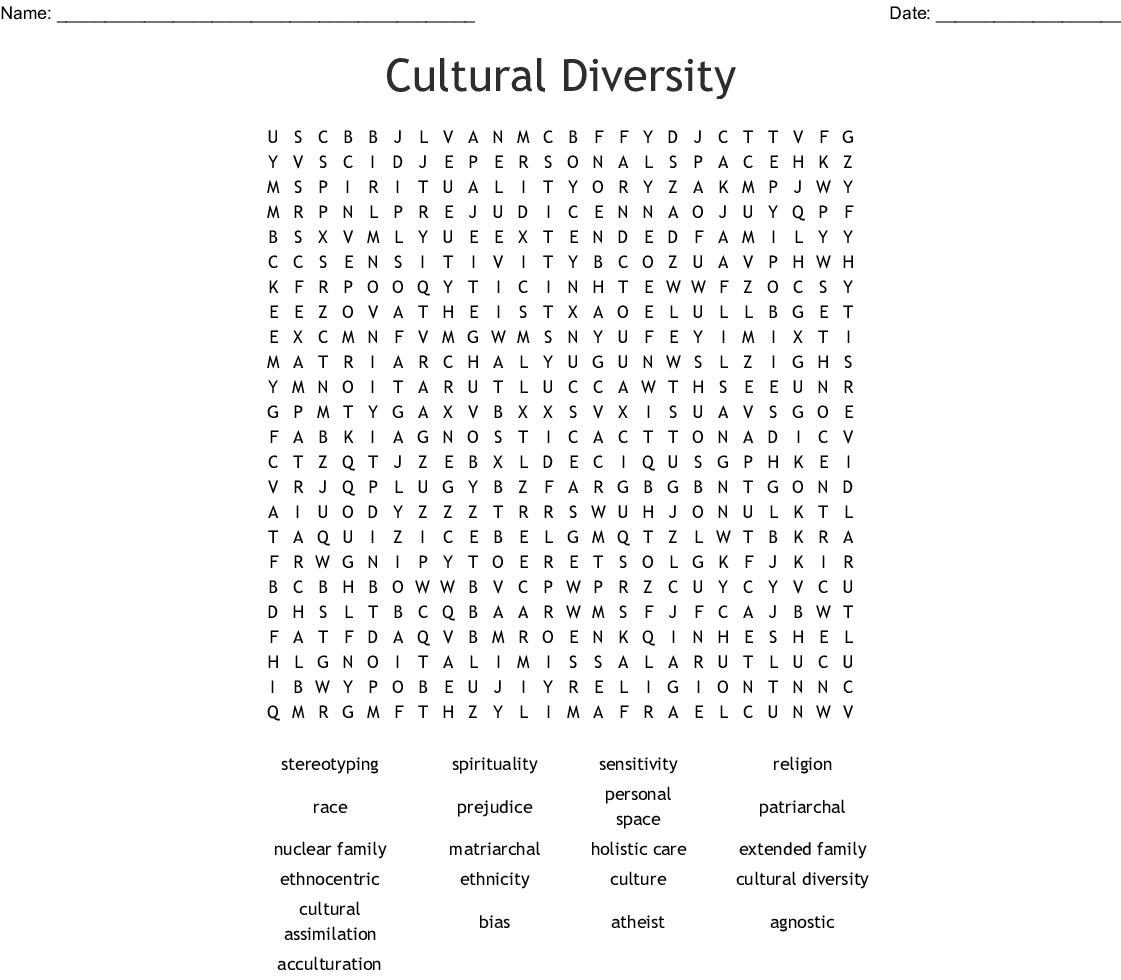 Cultural Diversity Crossword