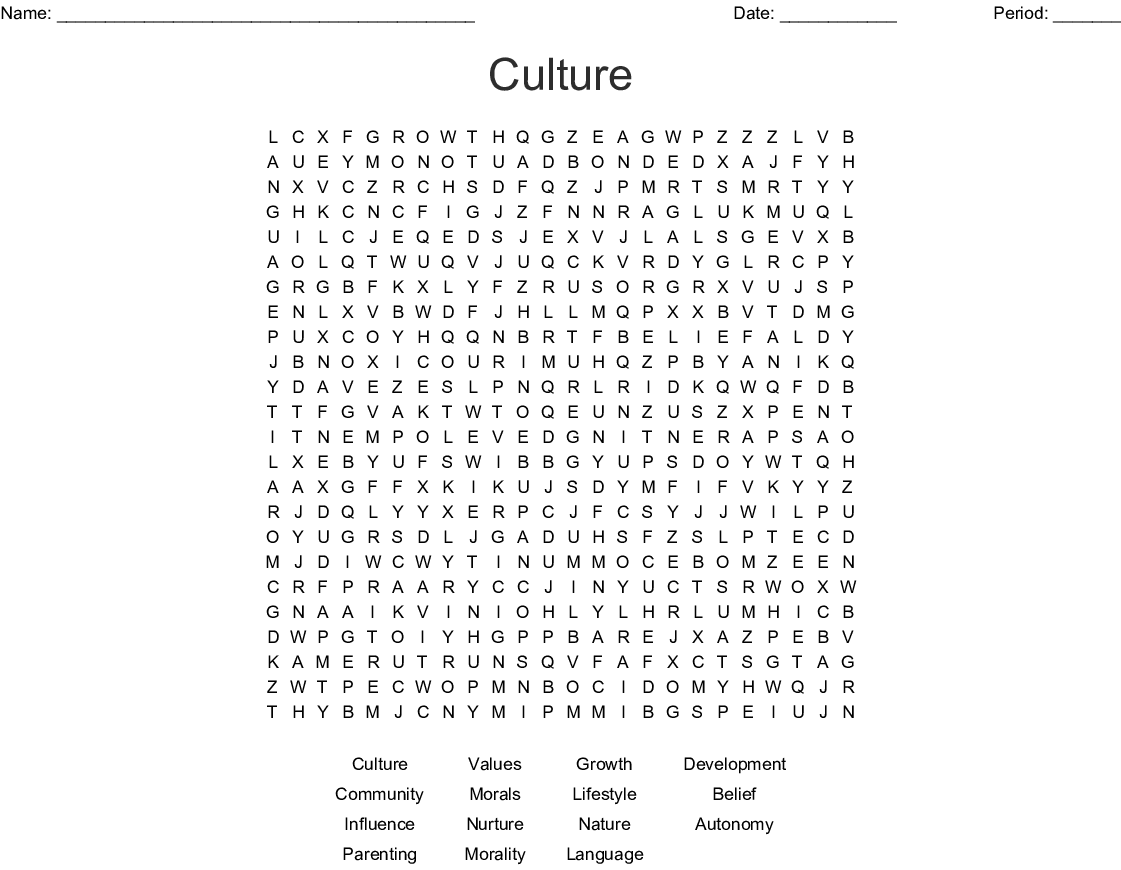 Culture Word Search