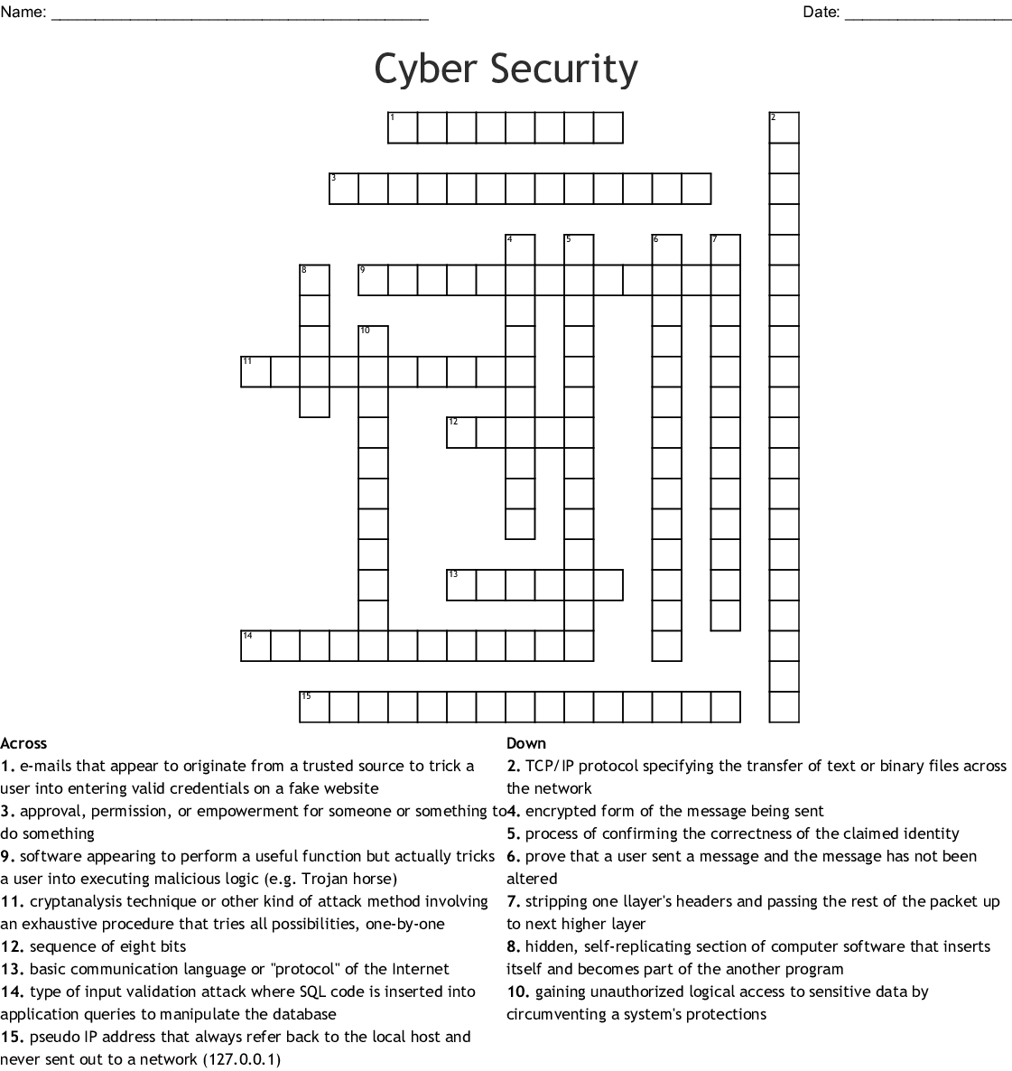 Cyber Security Crossword