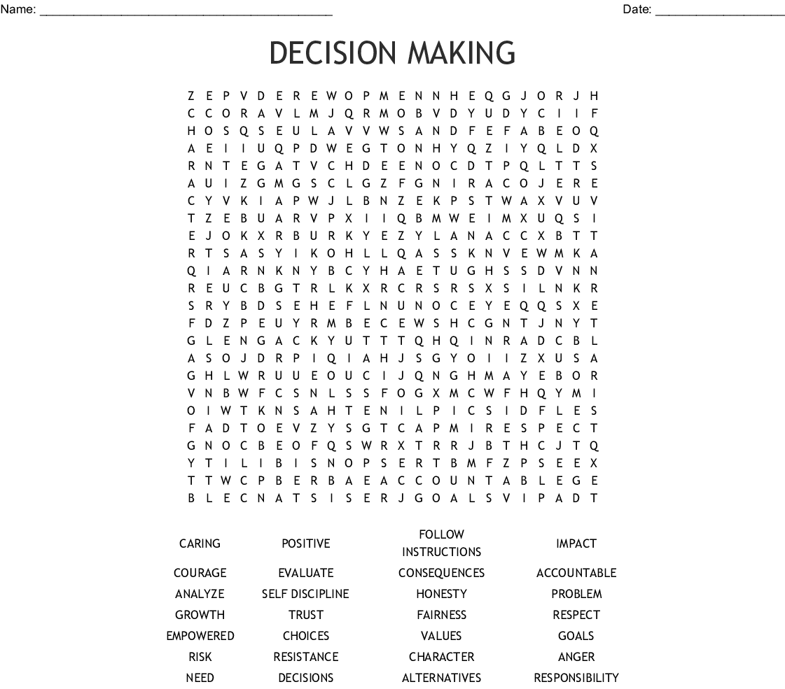 Decision Making Word Search