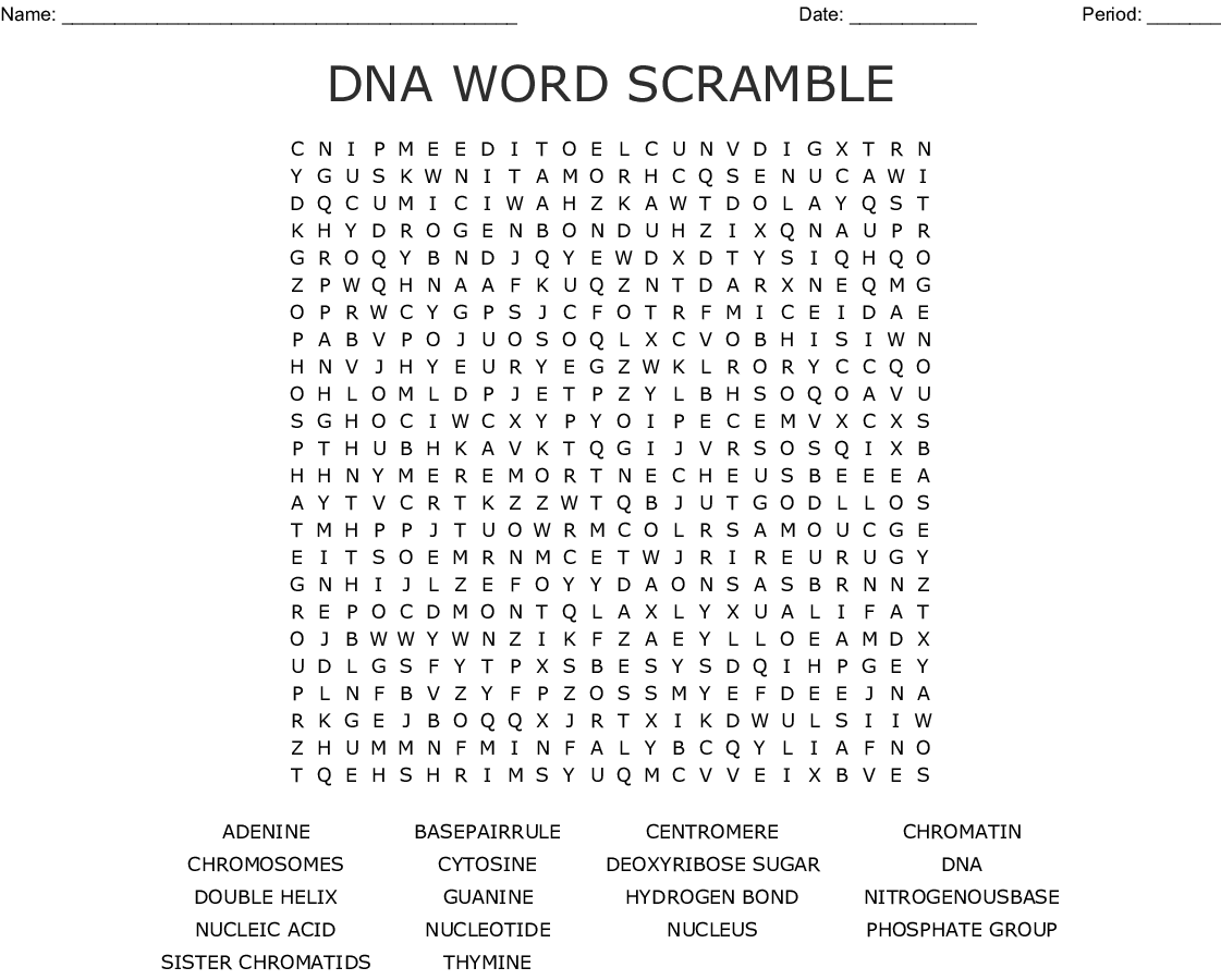 Dna Word Find Word Search