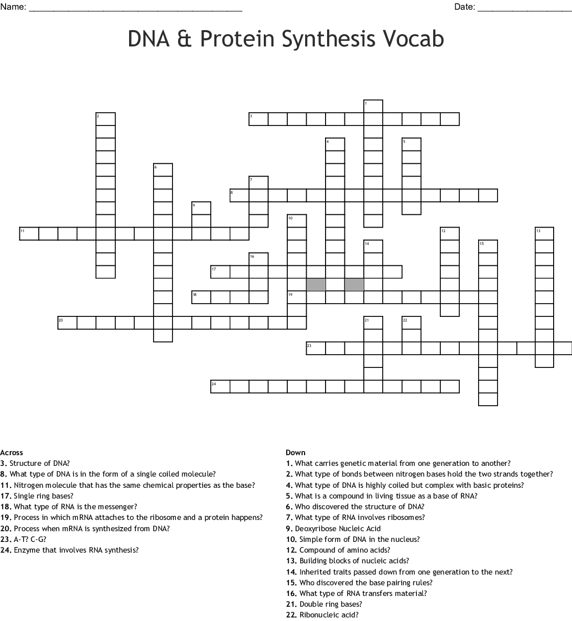 Dna And Protein Synthesis Worksheet Answers