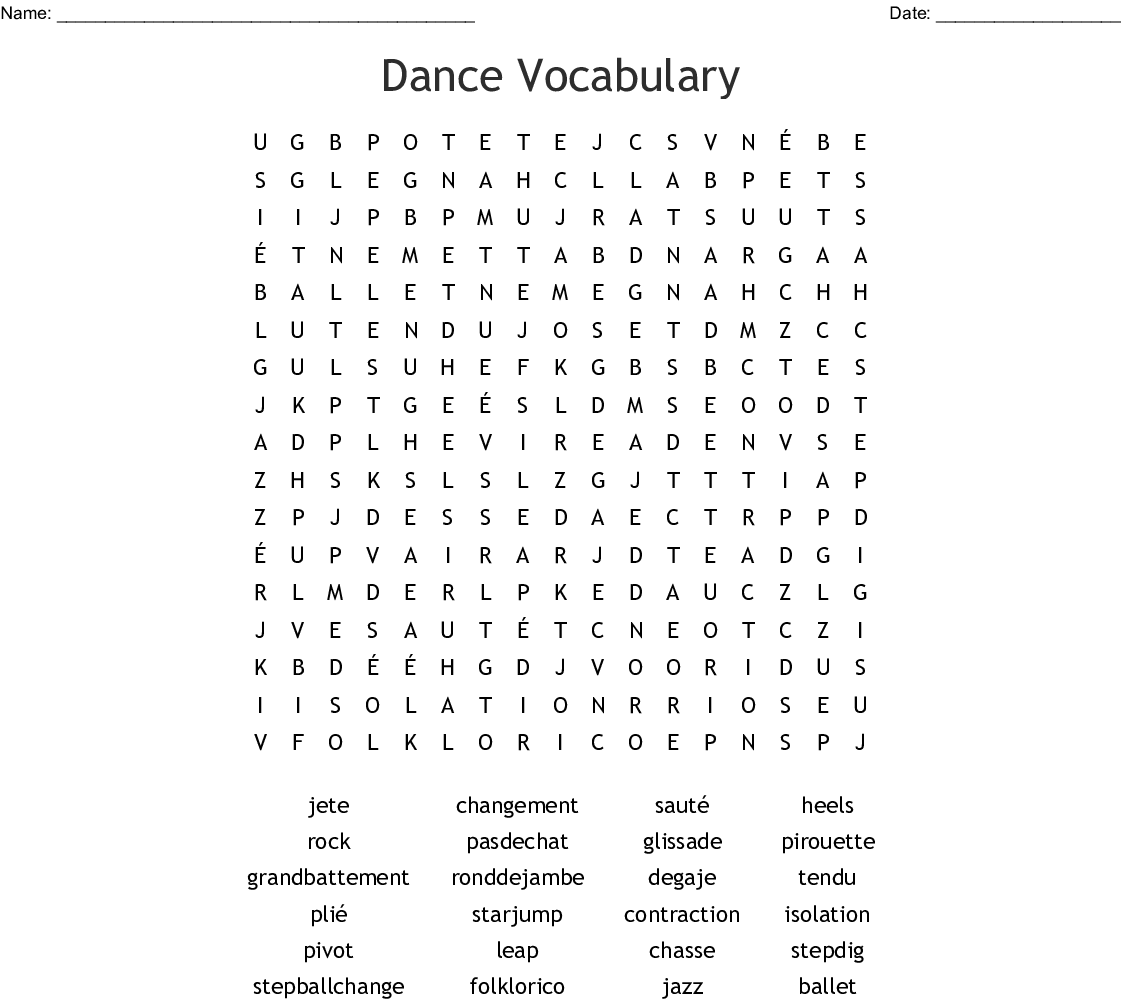 Dance Vocabulary Word Search