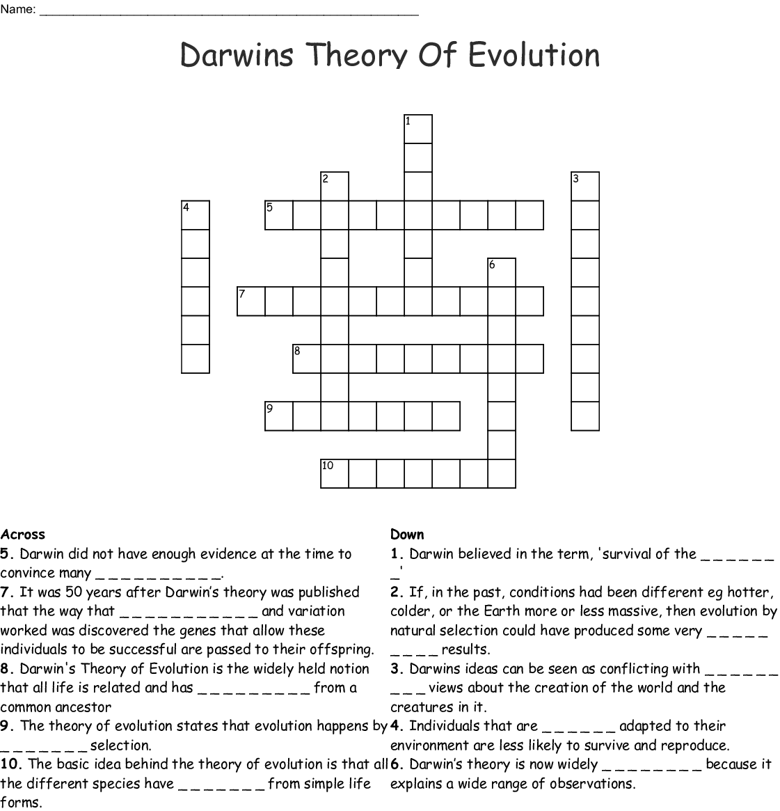 Darwins Theory Of Evolution Crossword