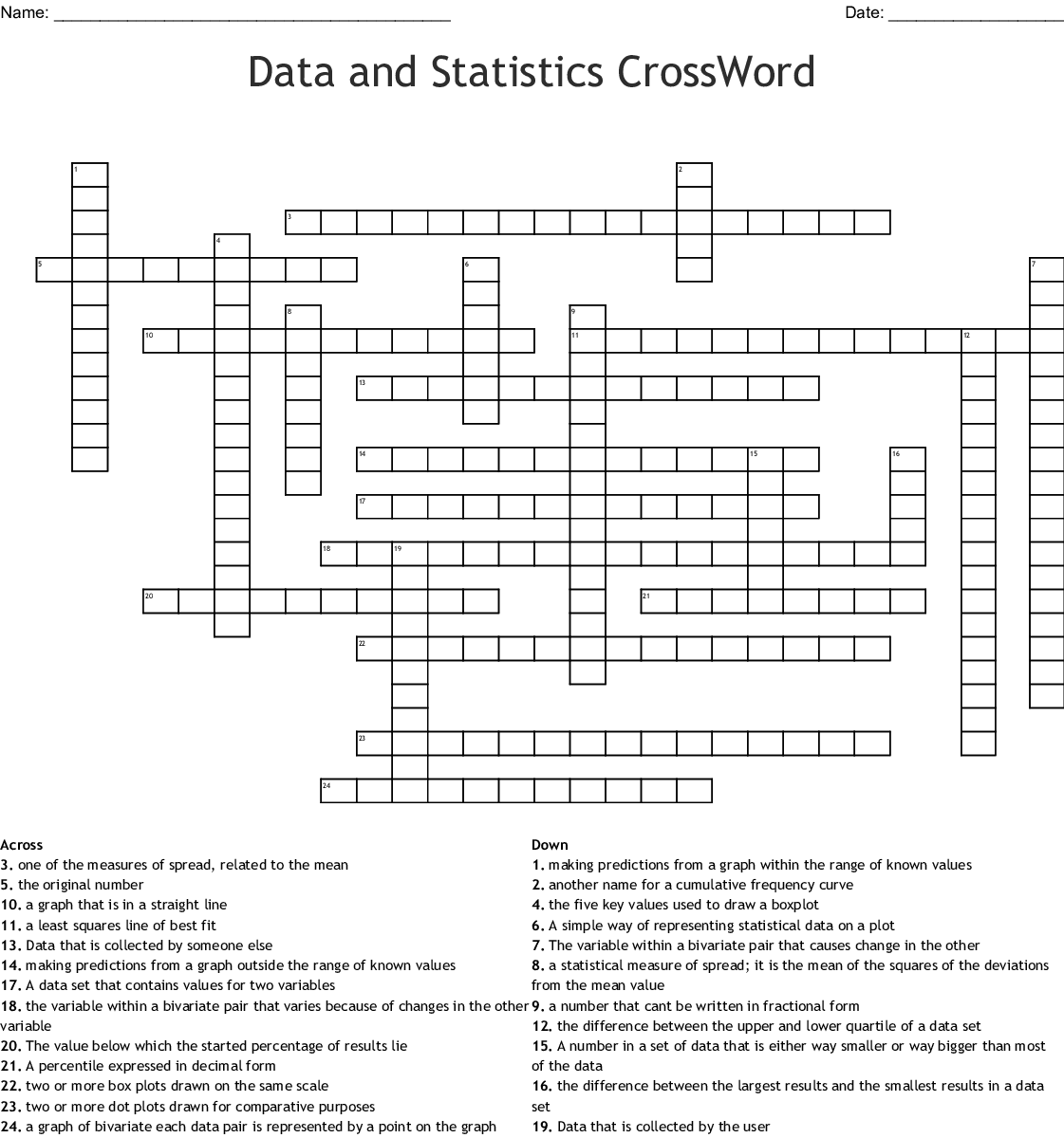 Statistics Crosswords Word Searches Bingo Cards