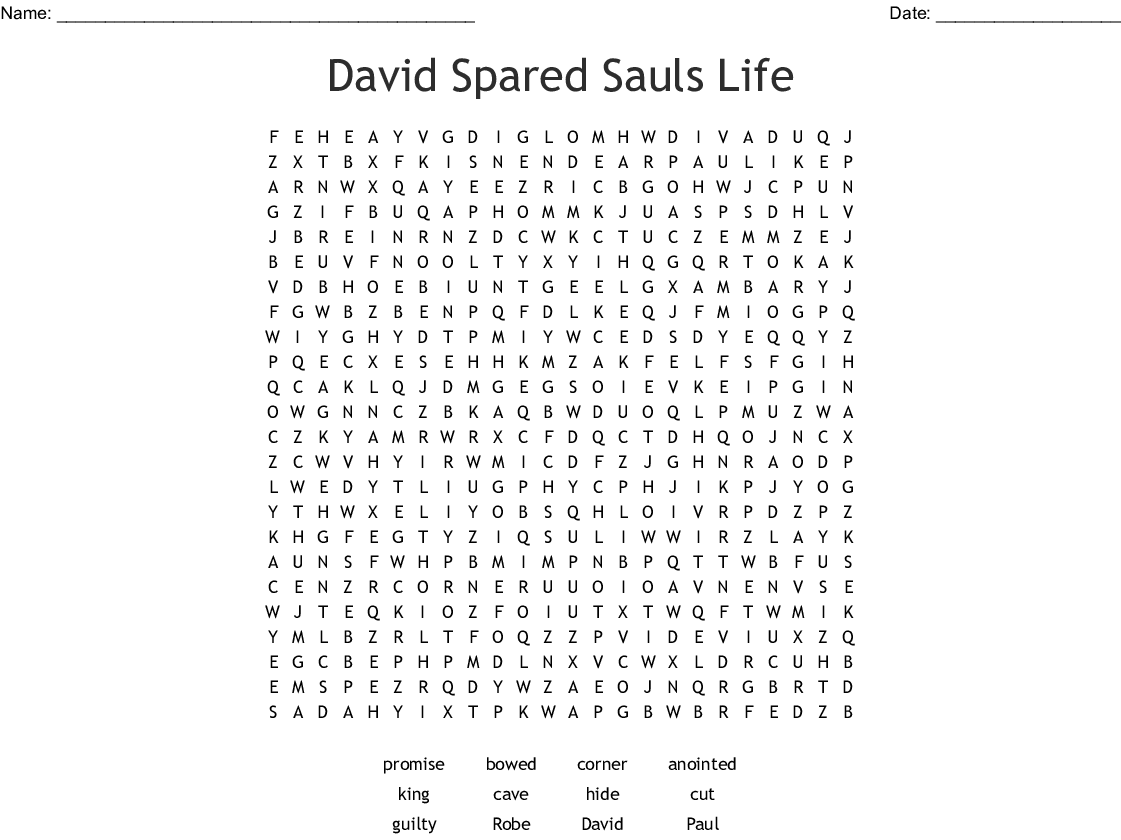 David And Jonathan Word Search