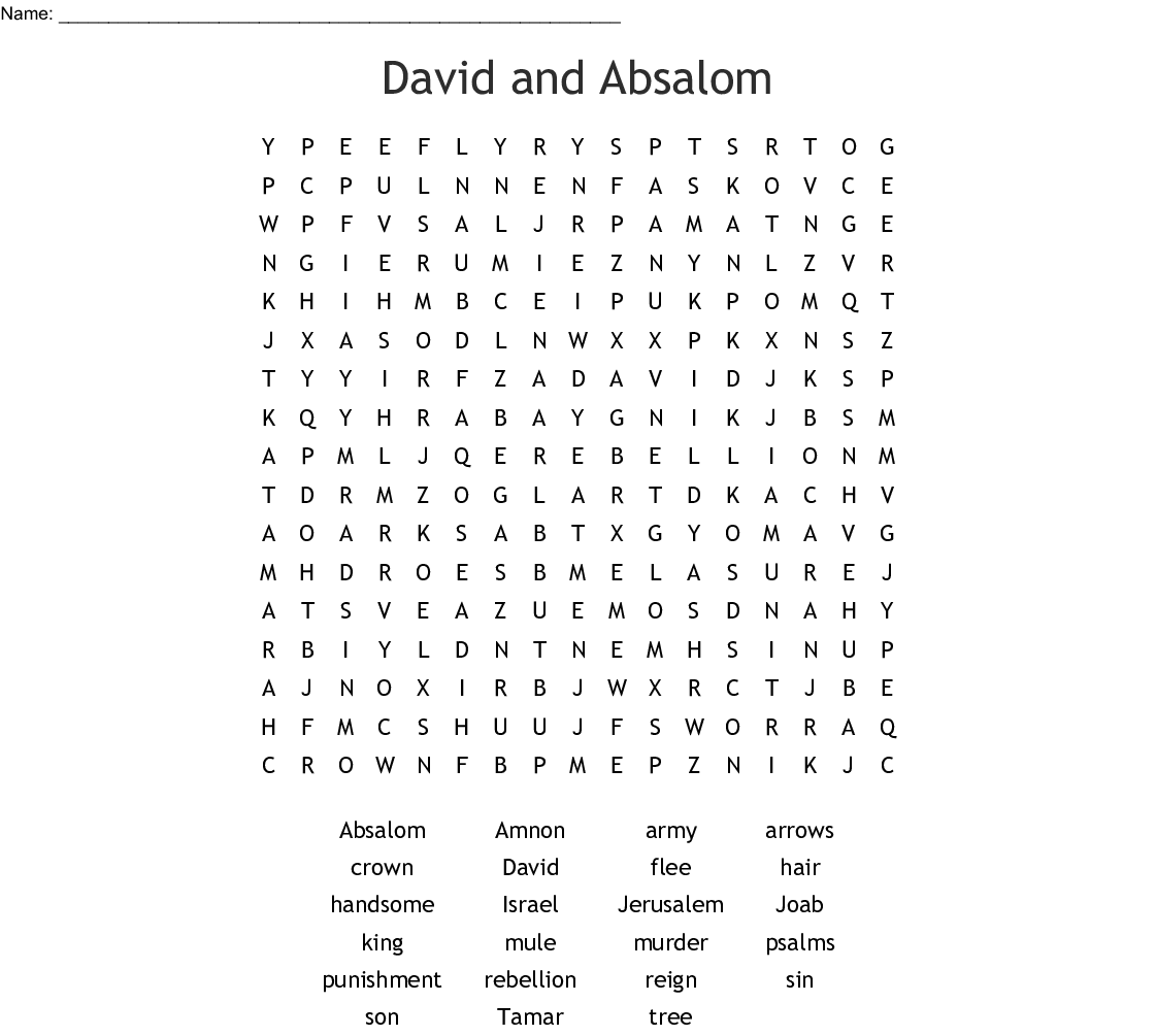 King David And Absalom Word Search