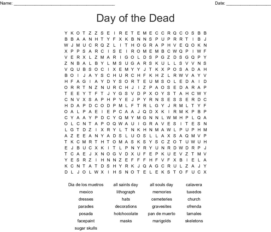 Dia De Los Muertos Word Search