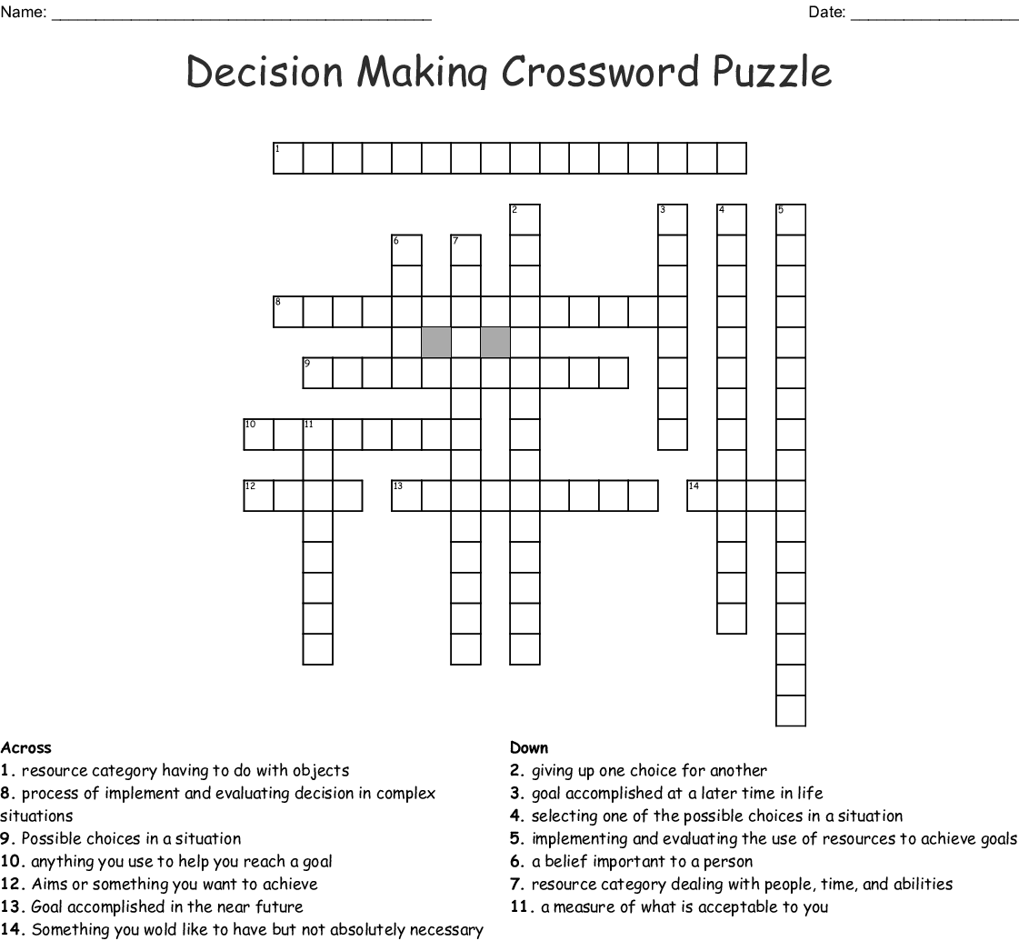 Decision Making Crossword Puzzle