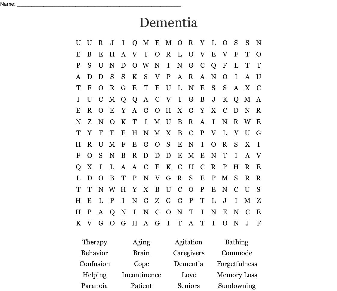 Dementia Word Search