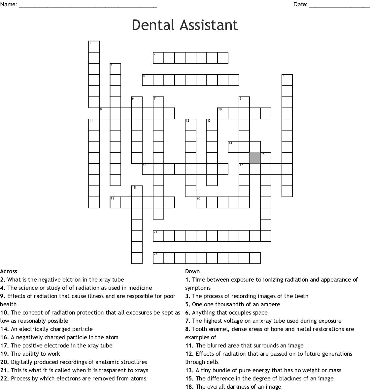 Dental Assistant Crossword