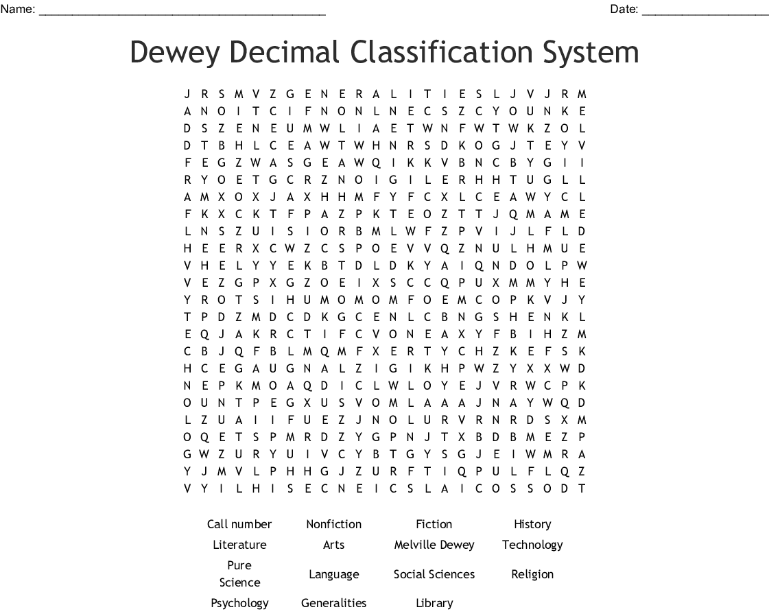 Dewey Decimal Classification System Word Search