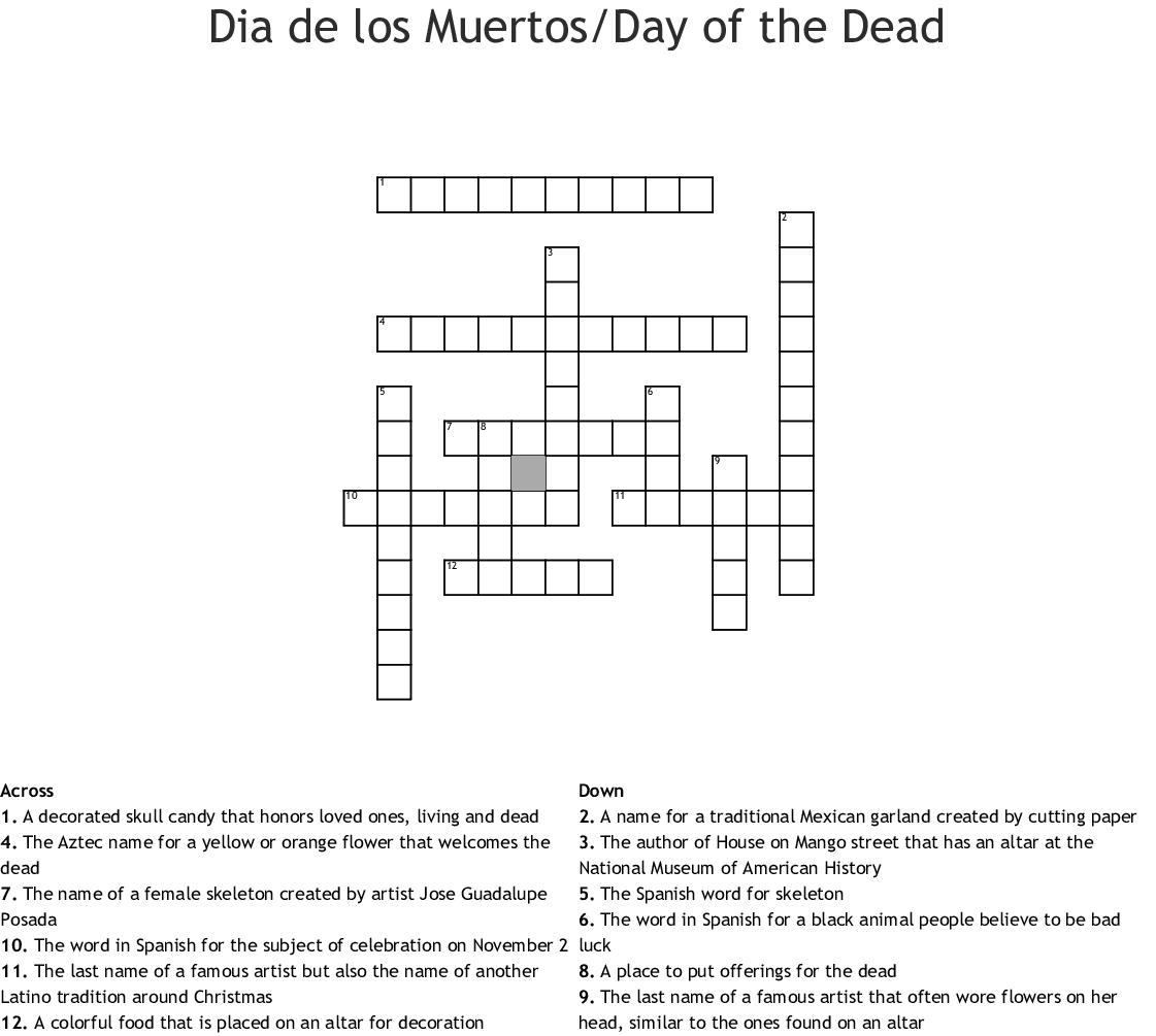 Dia De Los Muertos Worksheet Word Search
