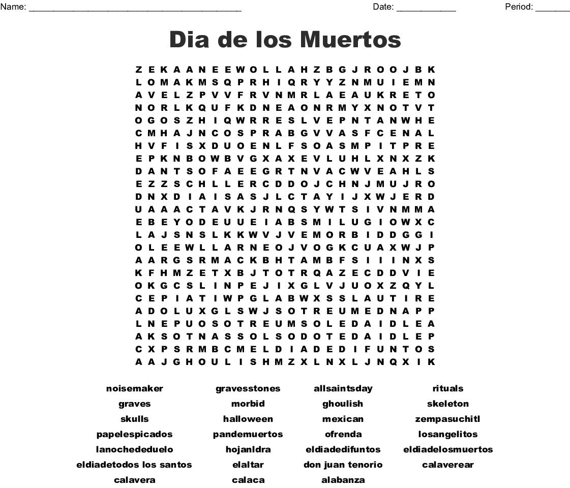 El Dia De Los Muertos Word Search