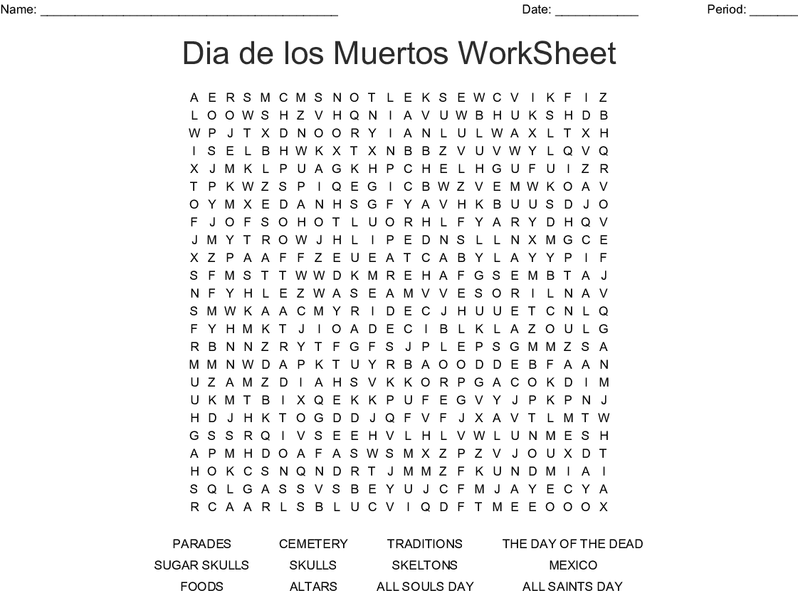 Day Of The Dead Word Search