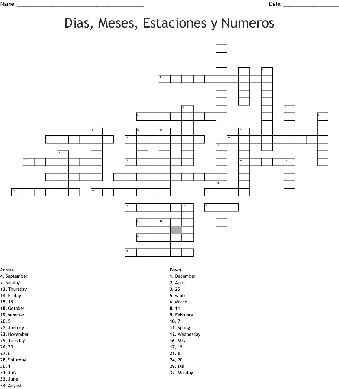 Los Meses Del Ano Y Los Dias De La Semana Crucigrama
