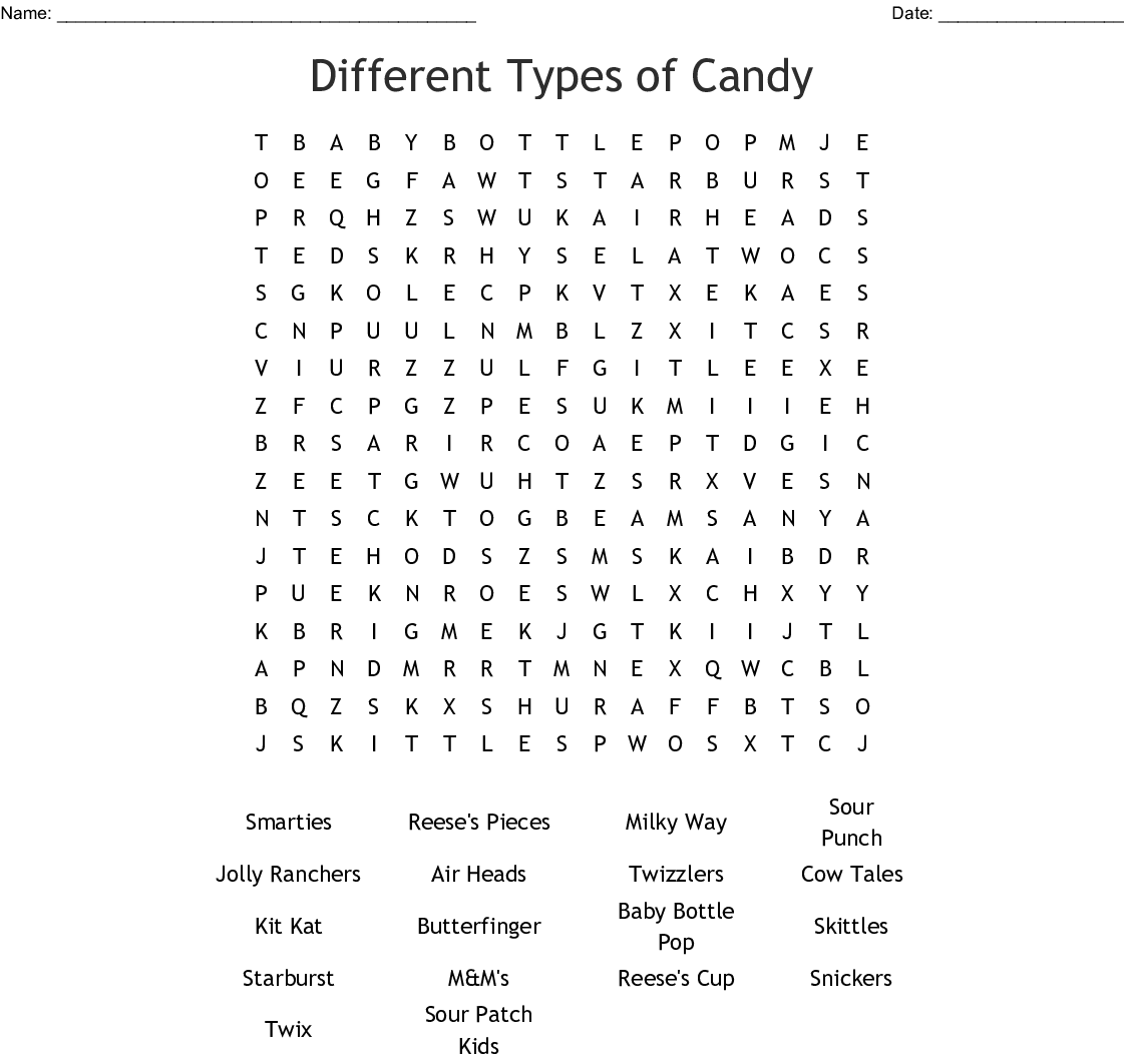 Candy Amp Sweets Crosswords Word Searches Bingo Cards