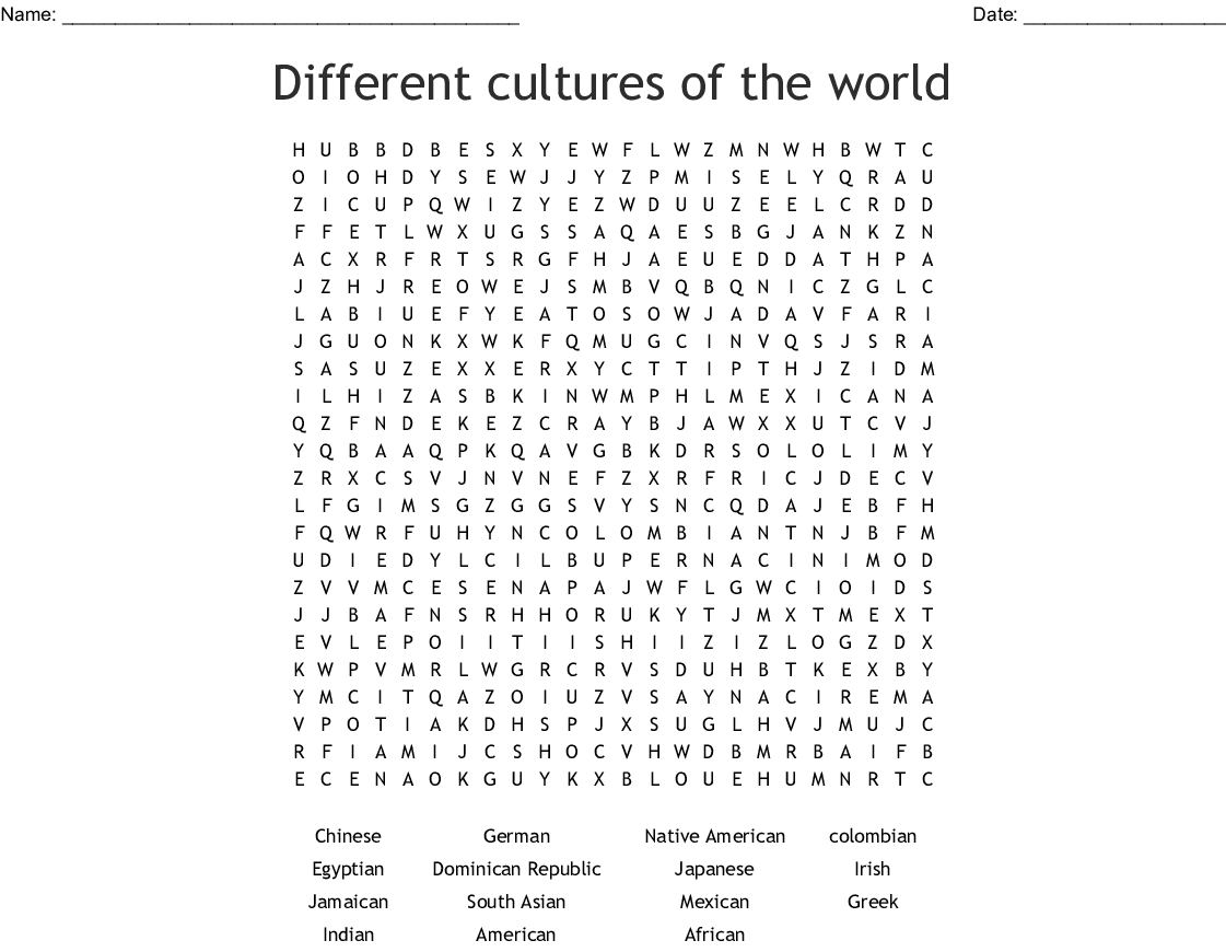 Different Cultures Of The World Word Search