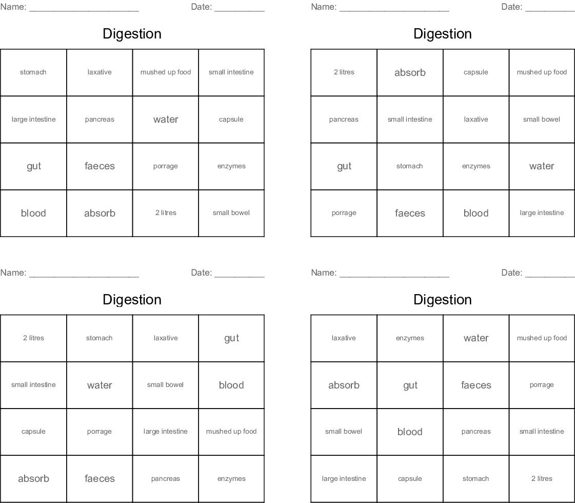 Digestion Bingo Cards