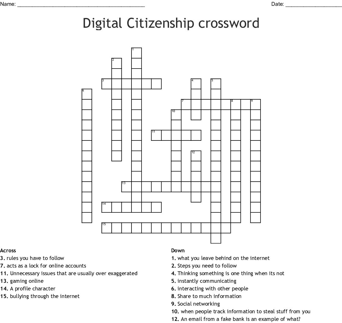 Crossword Puzzles With Word Bank Online