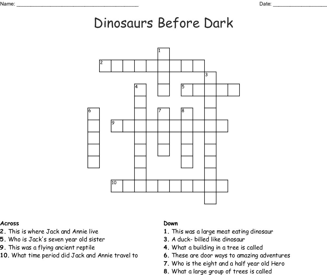 Dinosaurs Before Dark Crossword