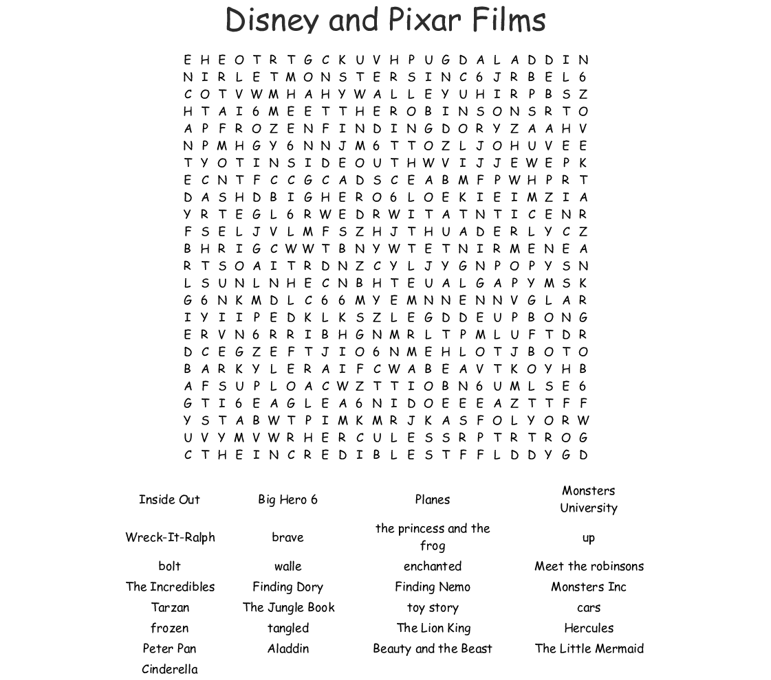 Disney Movies Word Search