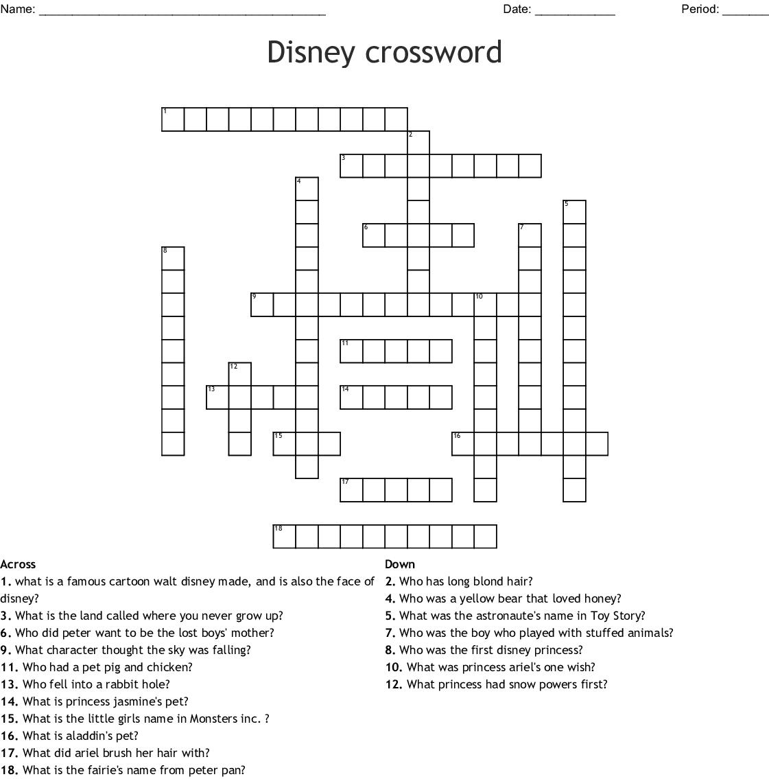 Disney Characters Crossword