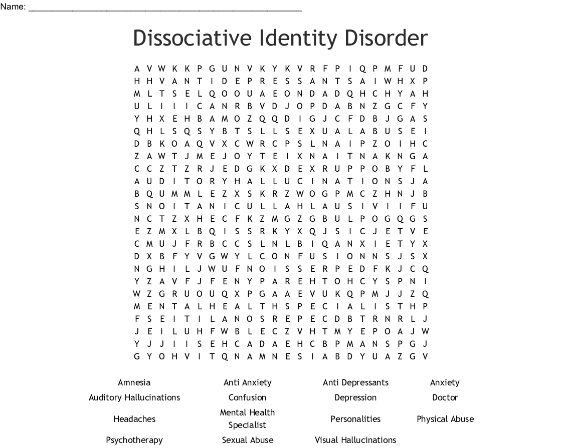 Anxiety Disorder Word Search