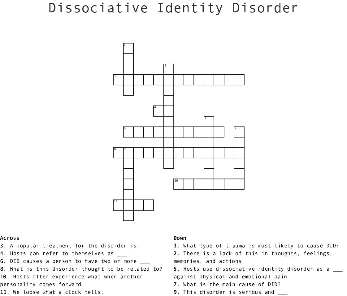 Dissociative Identity Disorder Worksheets