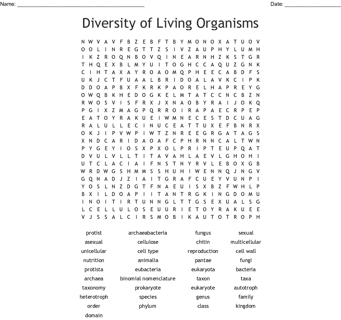 Taxonomy Crossword Puzzle