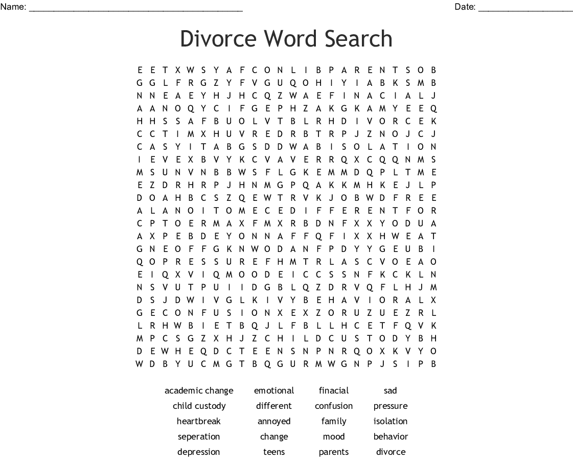 Grief Word Search