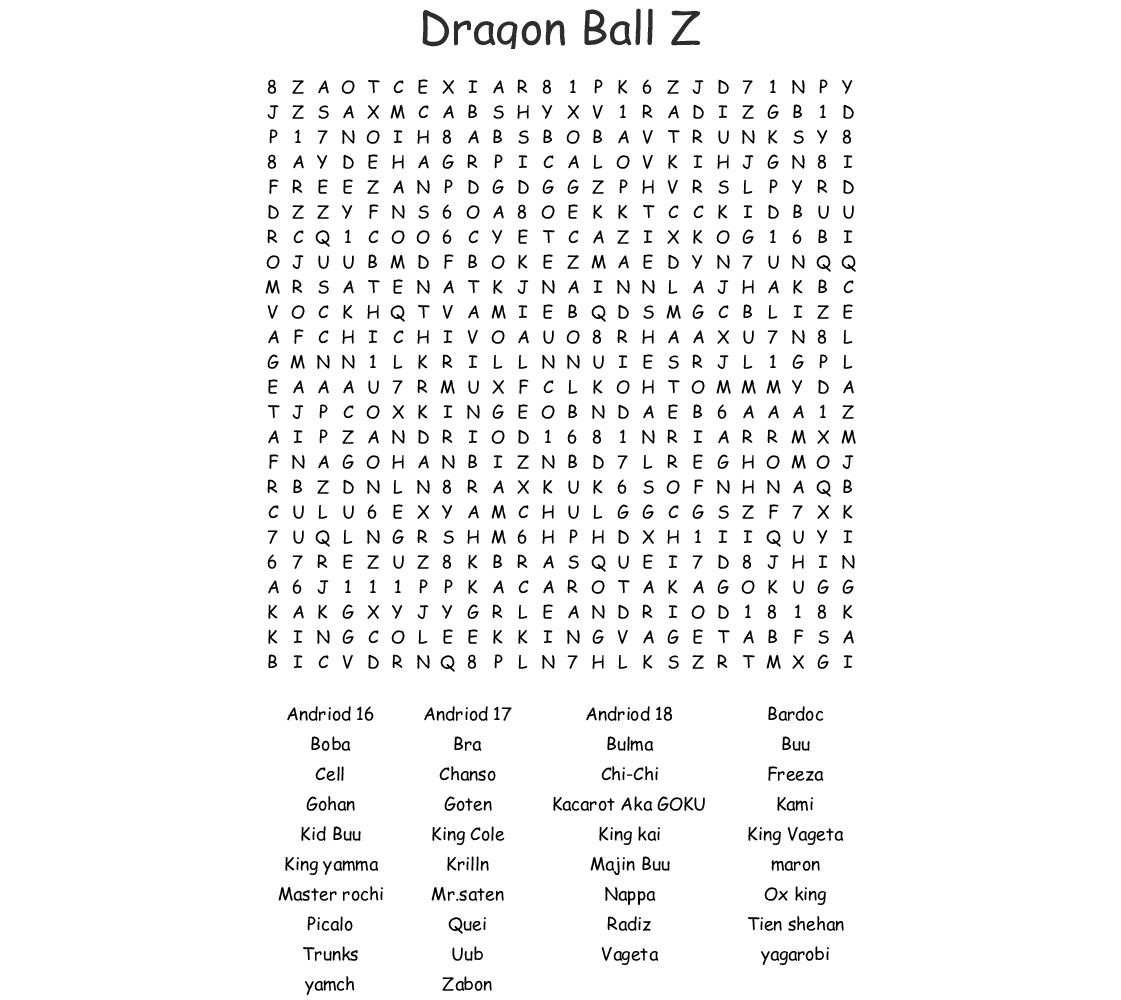 Dragon Ball Z Word Search