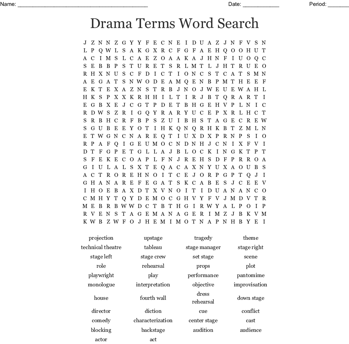 Drama Terms Word Search