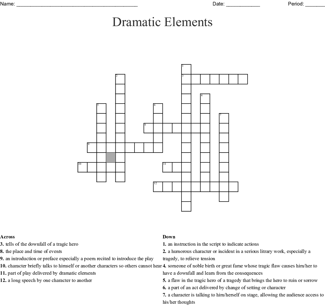 Elements Of Drama Crossword