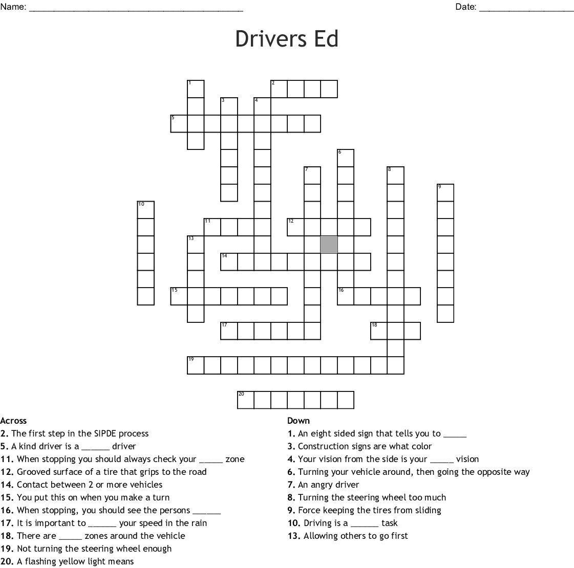 Drivers Ed Crossword