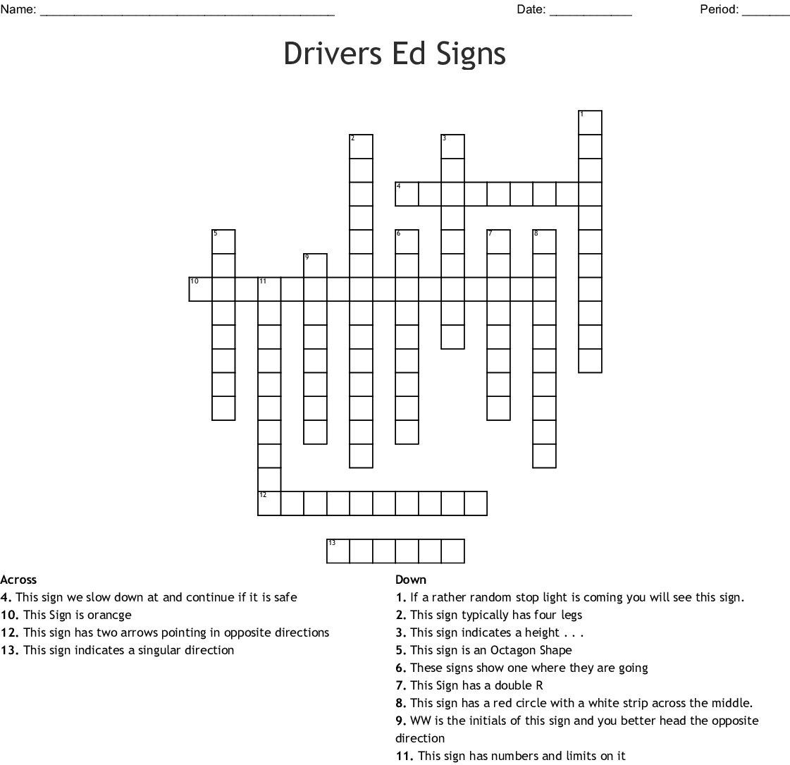 Chapter 2 Signs Signals And Roadway Markings Crossword
