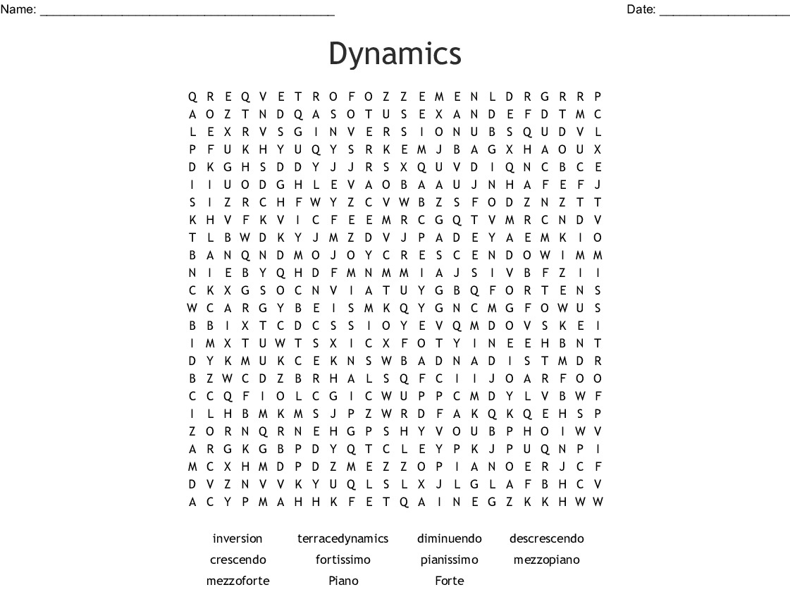 Dynamics Word Search