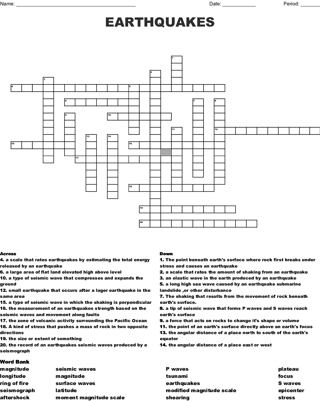Earthquakes And Seismic Waves Crossword