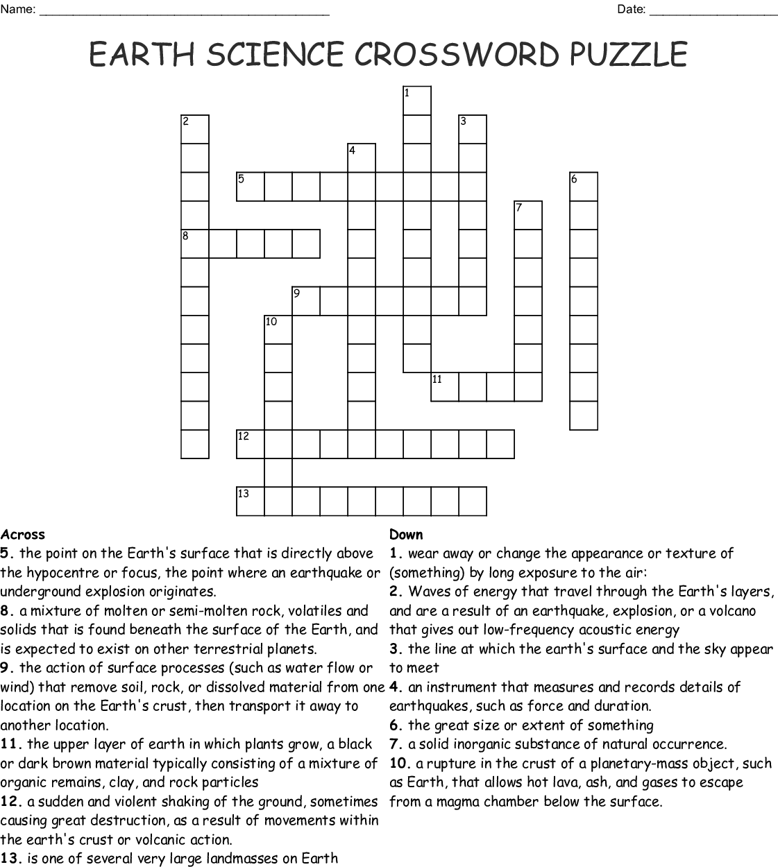 Earth Science Crossword Puzzle