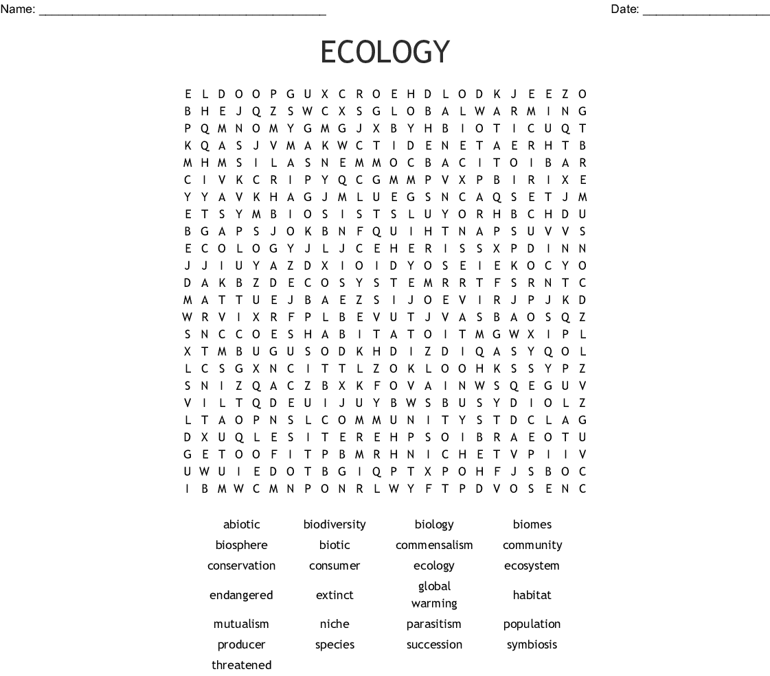 Environmental Science Word Search
