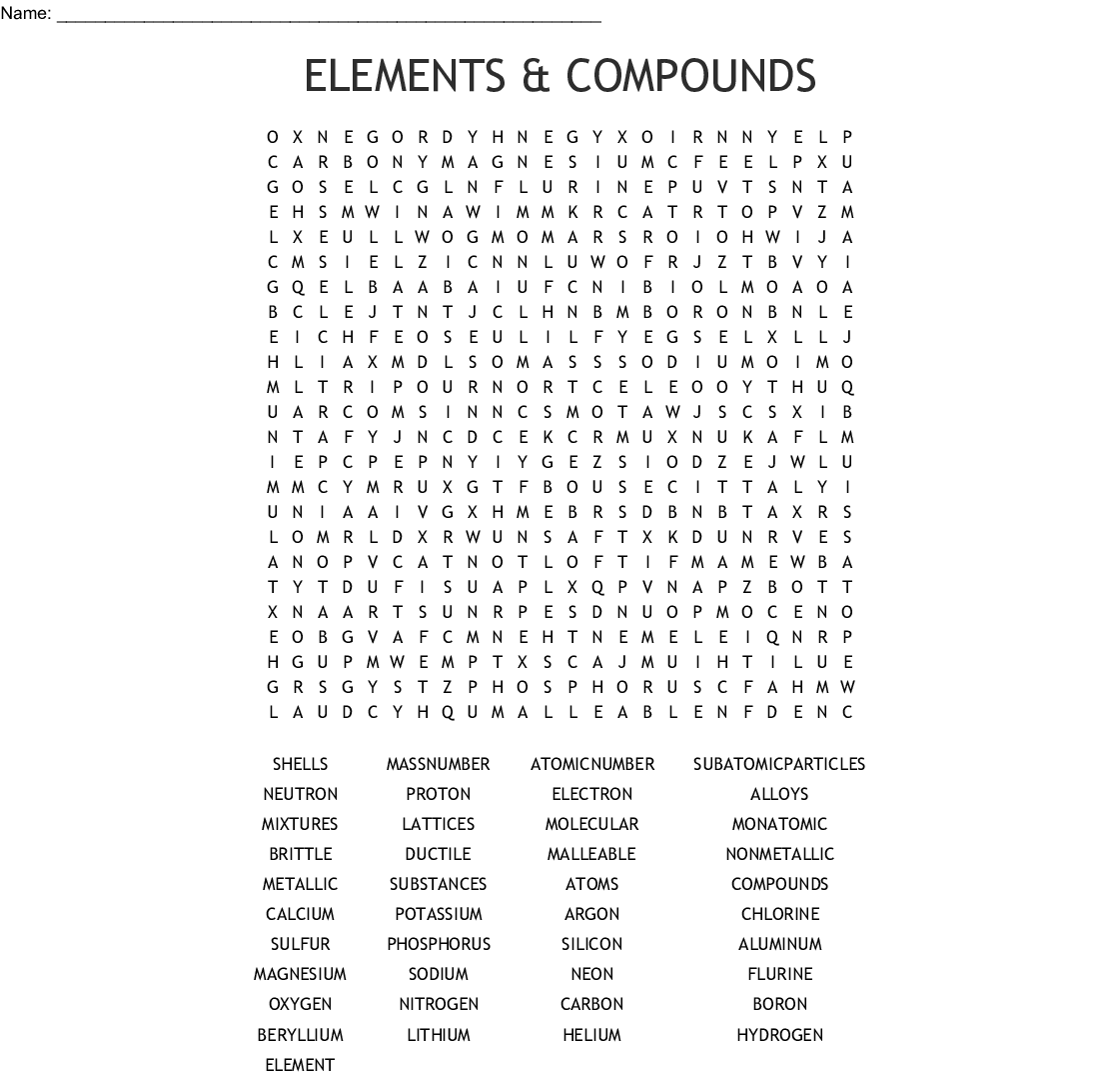 Elements Amp Compounds Word Search