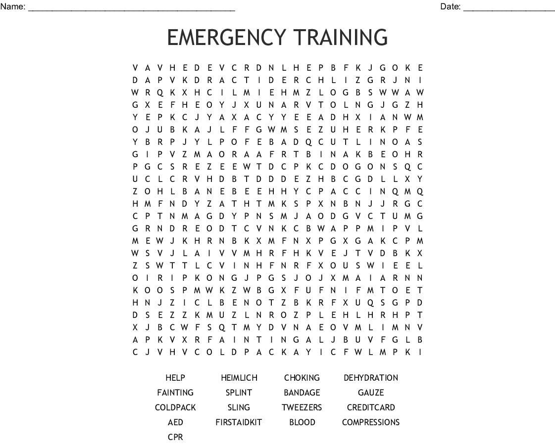 Emergency Training Word Search